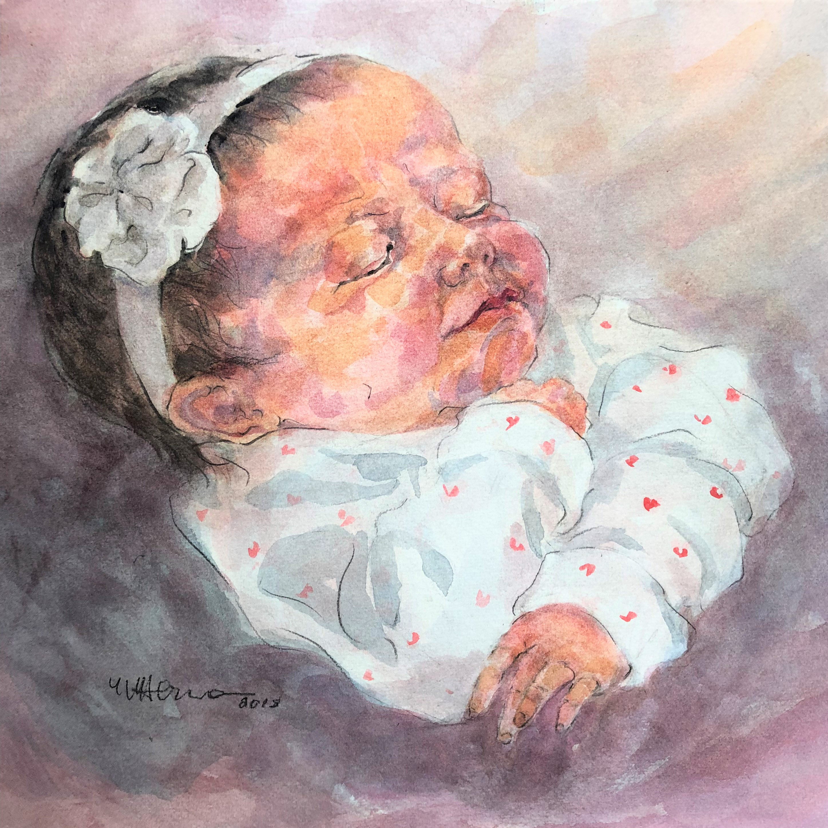 Baby portrait for a friend.  Watercolor on paper 9x12